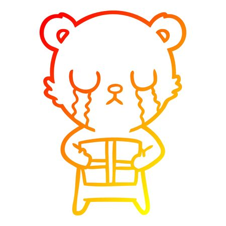 warm gradient line drawing of a crying cartoon bear with present
