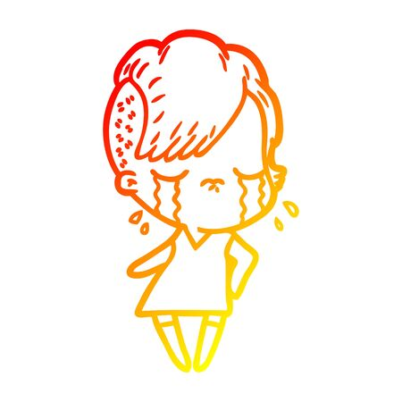 warm gradient line drawing of a cartoon crying girl