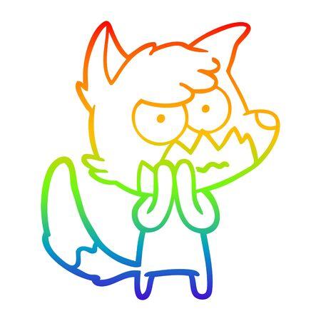 rainbow gradient line drawing of a cartoon annoyed fox Иллюстрация