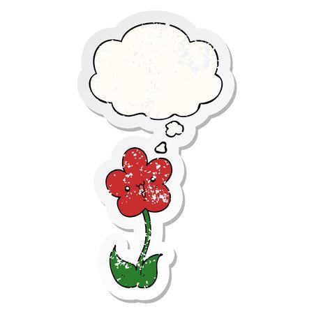 cartoon flower with thought bubble as a distressed worn sticker Illusztráció