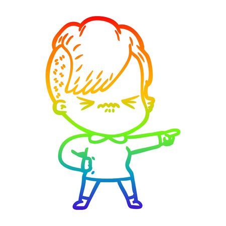 rainbow gradient line drawing of a cartoon annoyed hipster girl