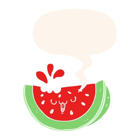 cartoon watermelon with speech bubble in retro style