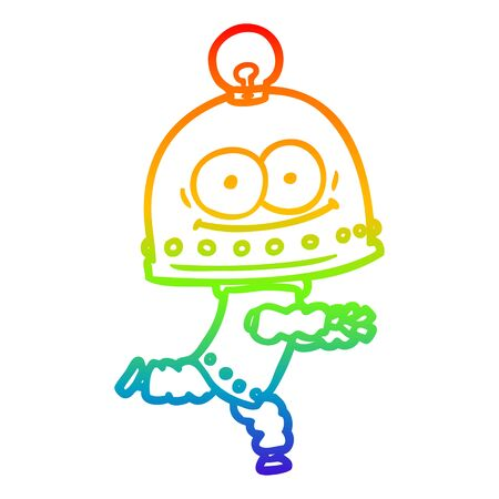 rainbow gradient line drawing of a happy carton robot with light bulb