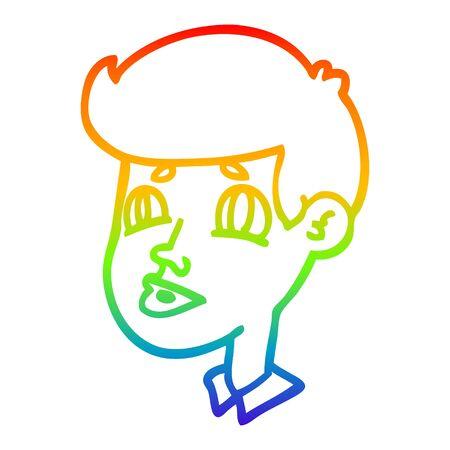rainbow gradient line drawing of a cartoon boy face