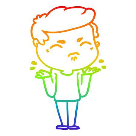 rainbow gradient line drawing of a cartoon annoyed man Illusztráció