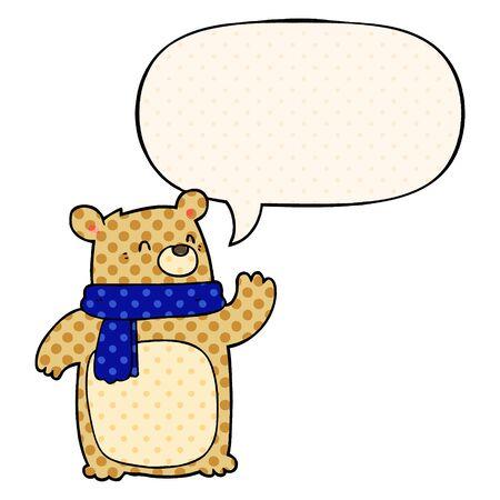 cartoon bear wearing scarf with speech bubble in comic book style