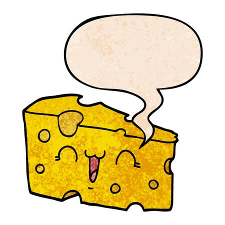 cartoon cheese with speech bubble in retro texture style