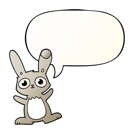 cute cartoon rabbit with speech bubble in smooth gradient style