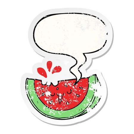 cartoon watermelon with speech bubble distressed distressed old sticker