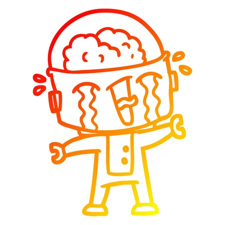 warm gradient line drawing of a cartoon crying robot  イラスト・ベクター素材