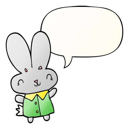 cute cartoon tiny rabbit with speech bubble in smooth gradient style