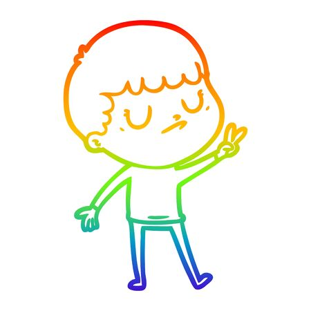 rainbow gradient line drawing of a cartoon grumpy boy Vectores