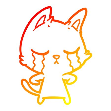 warm gradient line drawing of a crying cartoon cat