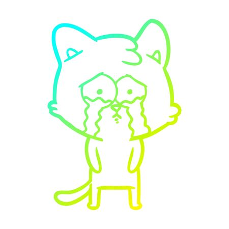 cold gradient line drawing of a cartoon crying cat