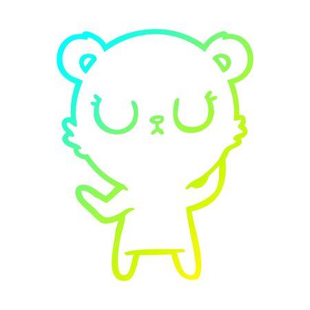 cold gradient line drawing of a peaceful cartoon polar bear