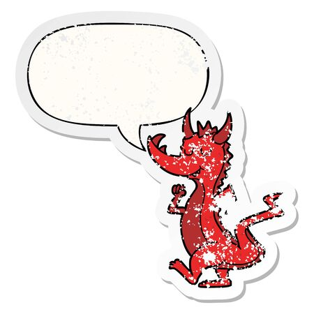 cartoon cute dragon with speech bubble distressed distressed old sticker Иллюстрация