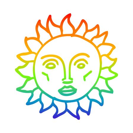 rainbow gradient line drawing of a cartoon traditional sun face Banque d'images - 129942786