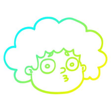 cold gradient line drawing of a cartoon big hair boy Illustration