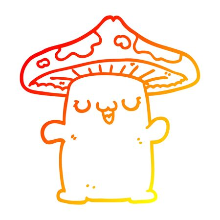warm gradient line drawing of a cartoon mushroom creature 向量圖像