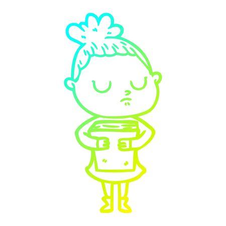 cold gradient line drawing of a cartoon calm woman Иллюстрация