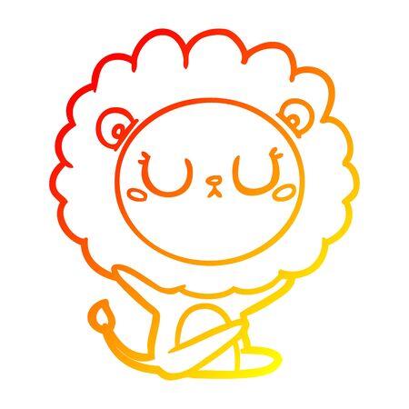warm gradient line drawing of a cartoon lion Иллюстрация