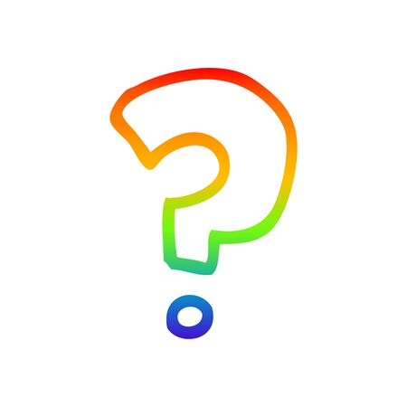 rainbow gradient line drawing of a cartoon question mark