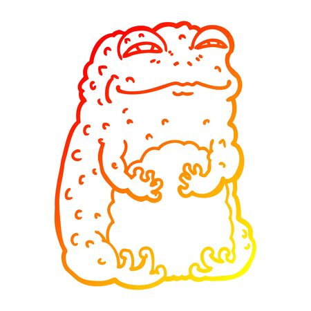 warm gradient line drawing of a cartoon smug toad  イラスト・ベクター素材