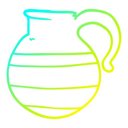 cold gradient line drawing of a cartoon jug