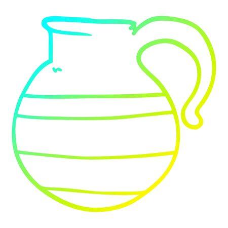 Dibujo de la línea de gradiente en frío de una jarra de dibujos animados