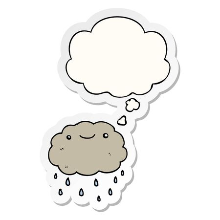 cartoon cloud with thought bubble as a printed sticker