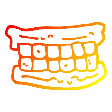 warm gradient line drawing of a cartoon false teeth