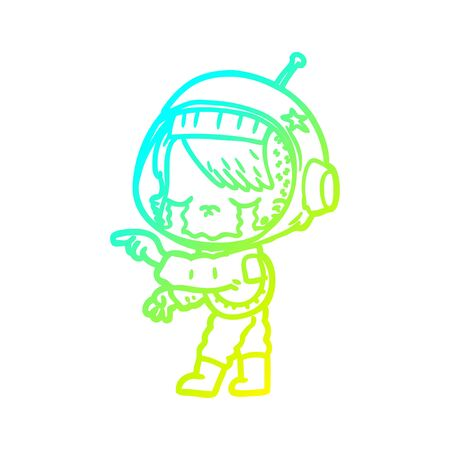 cold gradient line drawing of a cartoon crying astronaut girl Foto de archivo - 130011267
