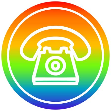 old telephone circular icon with rainbow gradient finish Banque d'images - 130011314
