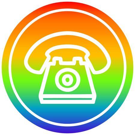 old telephone circular icon with rainbow gradient finish Illustration