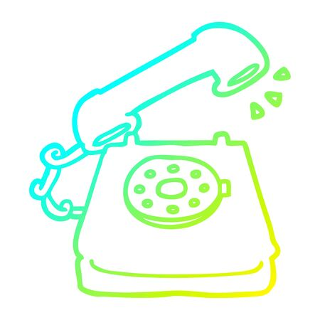 cold gradient line drawing of a cartoon ringing telephone 写真素材 - 130011323