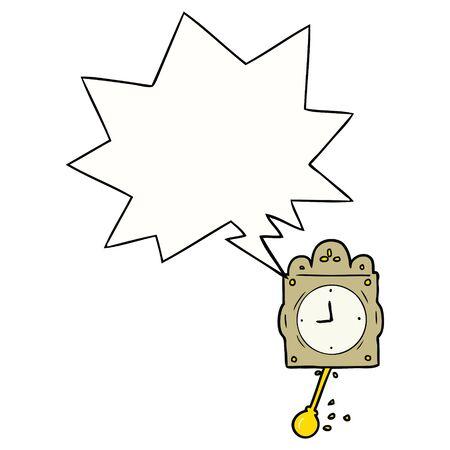 cartoon ticking clock with pendulum with speech bubble