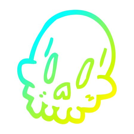 cold gradient line drawing of a cartoon spooky weird skull Ilustrace