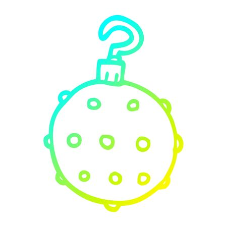 cold gradient line drawing of a cartoon red bauble Ilustrace