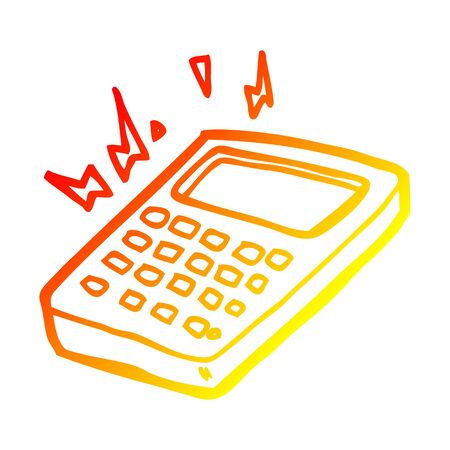 warm gradient line drawing of a cartoon calculator 스톡 콘텐츠 - 130011400