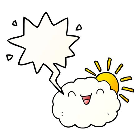 happy cartoon cloud with speech bubble in smooth gradient style Иллюстрация