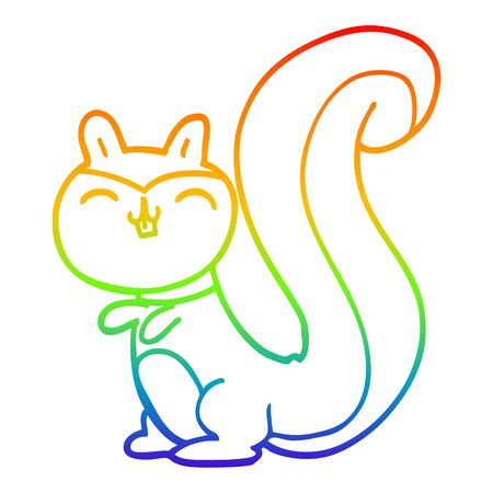 rainbow gradient line drawing of a cartoon happy squirrel