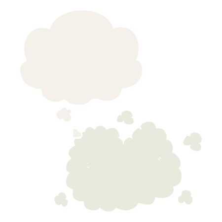 cartoon smoke cloud with thought bubble in retro style