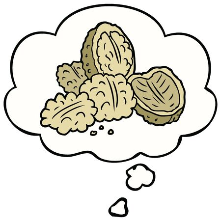 cartoon walnuts with thought bubble