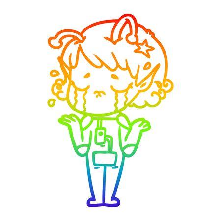 rainbow gradient line drawing of a cartoon crying alien girl Foto de archivo - 130011427
