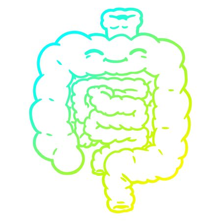 cold gradient line drawing of a cartoon intestines Illustration