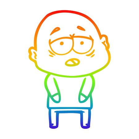 rainbow gradient line drawing of a cartoon tired bald man 向量圖像