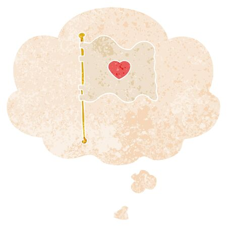 cartoon flag with love heart with thought bubble in grunge distressed retro textured style Иллюстрация