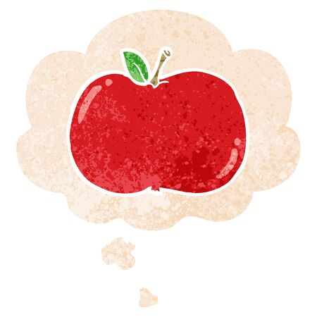 cartoon apple with thought bubble in grunge distressed retro textured style