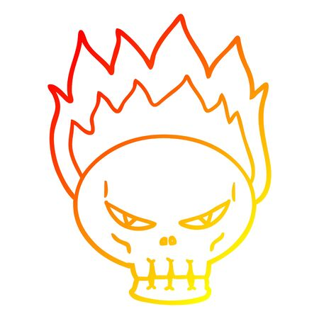warm gradient line drawing of a cartoon flaming skull Illusztráció