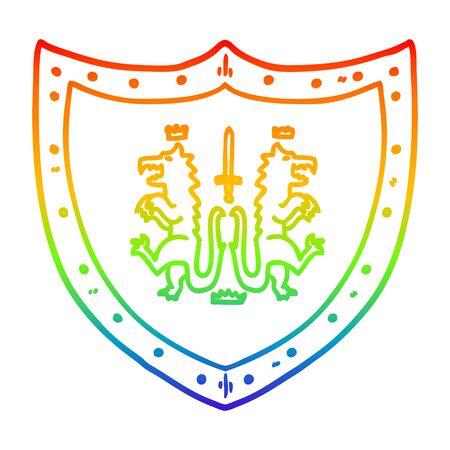 rainbow gradient line drawing of a cartoon heraldic shield